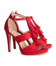 Sandalettes in imitation suede with decorative fringe. H&M I LOVE red shoes! H&m Heels, Strappy Sandals Heels, Strap Heels, Pumps, Red Shoes, Me Too Shoes, Red Sandals, Fringe Sandals, Red High Heels