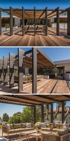 This large pergola has enough space for a large outdoor lounge and dining area. - This large pergola has enough space for a large outdoor lounge and dining area. Outdoor Shade, Outdoor Pergola, Backyard Pergola, Outdoor Lounge, Outdoor Areas, Outdoor Rooms, Backyard Landscaping, Pergola Lighting, Iron Pergola