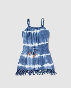 Vestido de niña Brotes en azul degradé