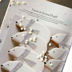 """A little parade of our polar bear cookies made it into Darcy Miller Designs's ne. - A little parade of our polar bear cookies made it into Darcy Miller Designs's new book, """"Celebr - Bear Cookies, Iced Cookies, Cute Cookies, Royal Icing Cookies, Cupcake Cookies, Reindeer Cookies, Cupcakes, Noel Christmas, Christmas Goodies"""