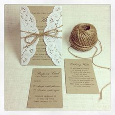 Rustic Wedding Invitation rustic chic by StunningStationery... Love the Wishing Well card wording