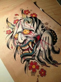 So jealous of this guy's skills it's ridiculous Japanese Mask Tattoo, Japanese Sleeve Tattoos, Tattoo Sketches, Tattoo Drawings, Dessin Old School, Hanya Tattoo, Dibujos Tattoo, Devil Tattoo, Buddha Tattoos