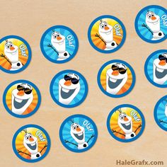 free printable Frozen cupcake toppers for your next Frozen themed party. This free printable prints 12 to a sheet in PDF format. Includes Elsa, Anna and Olaf. Olaf Birthday Party, Olaf Party, Frozen Theme Party, Birthday Ideas, Birthday Parties, Olaf Cupcakes, Frozen Cupcake Toppers, Frozen Cupcakes, Disney Cupcakes