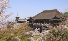Temple of Kiyomizu-dera, Kyoto, Japan. This Buddhist temple has been in existence since the 8th century.