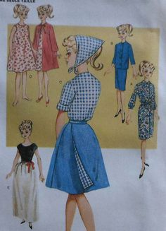 """Retro Style 60s 11.5"""" Fashion Doll Clothes Sewing Pattern"""