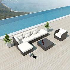 Uduka Outdoor Sectional Patio Furniture Espresso Brown Wicker Sofa Set Porto 7 Off White All Weather Couch Uduka http://www.amazon.com/dp/B00J58LSHW/ref=cm_sw_r_pi_dp_GrM3vb0SHHK29