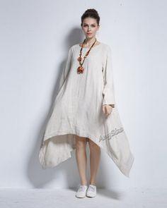 Any Size irregular hem soft linen dress plus size dress by AnySize