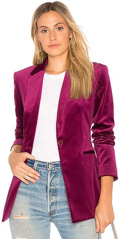 This Purple Velvet Blazer is gorgeous for a stylish work day.