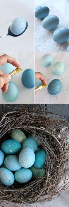Easter Inspiration - Egg Decorating - Robin Eggs Using Red Cabbage & Edible Gold Paint Hoppy Easter, Easter Bunny, Gold Easter Eggs, Spring Crafts, Holiday Crafts, Holiday Fun, Holiday Foods, Diy Ostern, Easter Celebration