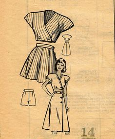 1940s American Weekly 3803 Playsuit Pattern Midriff Bra Shorts and Skirt Mail Order Vintage Sewing Pattern Bust 32 WWII Era Pattern RARE