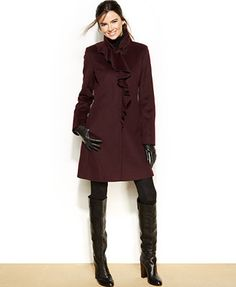DKNY Petite Wool-Blend Ruffled Walker Coat. The ruffle adds a unique touch!