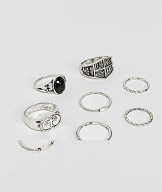 ASOS Chunky Ring Pack With Shield And Stone Interest In Burnished Silv