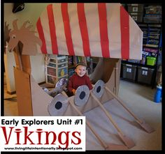 This is such a fun unit to make learning about early explorers like the Vikings come alive (history for kids, homeschool) Explorers Unit, Early Explorers, Vikings For Kids, Diy For Kids, Crafts For Kids, Boat Crafts, Dragon Party, History For Kids, Viking Ship