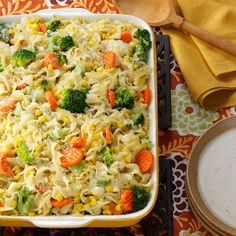 Vegetable Noodle Casserole Recipe -If you're looking for a filling side dish, this recipe fits the bill. It combines nutritious vegetables and hearty noodles in a delectable cream sauce. Whenever I serve this dish, it gets passed around until the pan is scraped clean. -Jeanette Hios, Brooklyn, New York