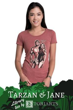 Civilization holds no attractions for you. You'd much rather be adventuring!    Storiarts is proud to present to you this officially licensed tee featuring vintage illustrations of Edgar Rice Burroughs' classic characters. Continue the adventure alongside Tarzan and Jane Porter with this high-quality literary tee. Comes in a women's and men's/unisex styles.