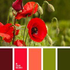 ализариновый красный, алый, болотный зеленый, бордовый цвет, красный, красный и зеленый, оттенки красного, палитры для дизайнера, подбор цвета, сочетание цветов для декора интерьера, цвет вина, цвет зелени, цвет красных маков, цвет