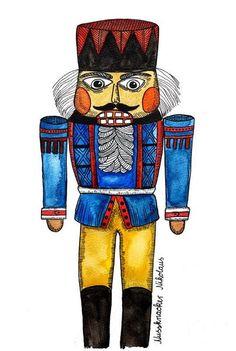 *Nussknacker* Postkarte (3x) von Frau Ottilie Illustration auf DaWanda.com