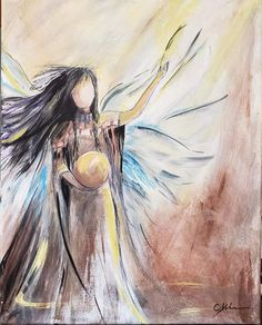 Native Faceless Angel Power mixed media painting by Carrie Kohan Mixed Media Painting, Carrie, Nativity, Game Of Thrones Characters, Angel, Artwork, Fictional Characters, Ideas, Work Of Art