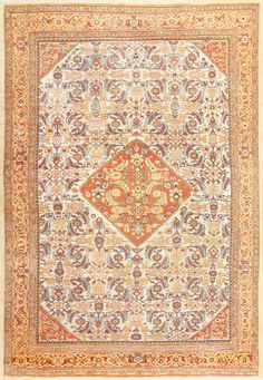 Antique Sultanabad Persian Rug, Country Of Origin: Persia, Circa Date: 1900 9 ft x 13 ft (2.74 m x 3.96 m)