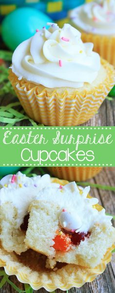 Frosted yellow cupcakes stuffed with candies to give anyone a sweet surprise with the first bite! The perfect Easter dessert treat this spring!