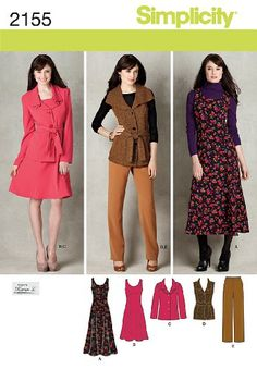 Simplicity 2155 Misses' and Plus size jumper in two lengths, pants and jacket or vest with tie belt sewing pattern. Looks included: 5.
