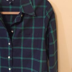 Navy and green Gap button up Great for layering in the winter or wearing alone in the summer.  In excellent condition.  Only wore a couple of times.  Soft and light weight. GAP Tops Button Down Shirts