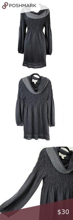 NINE WEST Women/'s Black //Lt.Grey Knit Scoop Neck Striped Flare Sweater Dress