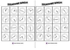 Zegar Bingo! gra do druku Bingo Sheets, Free Math, Telling Time, Grammar, Sheet Music, Clock, Teaching, Activities, Education