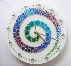 Hand painted glass wall clock with the colored bubbles Painting Clock Painting, Bubble Painting, Clock Art, Diy Clock, Fused Glass Plates, Fused Glass Art, Mirror Wall Clock, Wall Clocks, Glass Painting Patterns