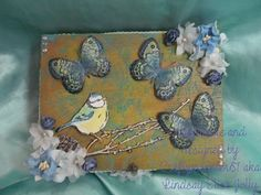 For this weeks challenge I have redecorated a small old cigar box, first I carefully peeled off the labels then coloured the box with Bright Yellow GreenPanPastelsI then fixed it with cheap hairspray and used a Premium Art Brands Stencil (this one is clover heart) with turquoisePanPastels. I then stamped out the bird using a Sheen Douglas stamp and the butterflies using a Kaiserkraft stamp and coloured them withPanPastelstoo, then sprayed the butterflies with glitter spray. Finally I… Challenge Me, Hairspray, Bright Yellow, Cigar, Altered Art, Butterflies, Stencils, Glitter, Birds