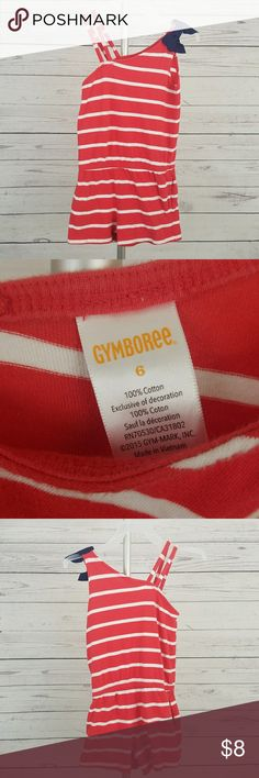 Gymboree romper girls size 6 this is a cute red and white striped romper with a navy blue bow the shorts even have pockets Gymboree Other