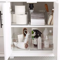 Can you tell whats been on my mind this week? If you guessed the master bathroom renovation youd be correct. Linen Closet Organization, Home Organisation, Bathroom Organization, Organization Hacks, Bathroom Storage, Sink Organizer, Organizers, The Home Edit, Declutter Your Life