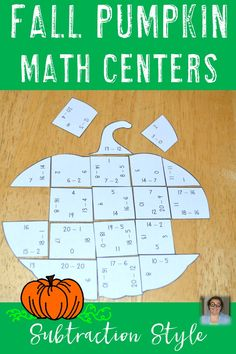 These Subtraction Fall Pumpkin Math Centers are the perfect game for your 1st, 2nd, or 3rd grade classroom! They're also great for math activities or centers in the classroom! All three puzzles are a great mental math practice activity. Click through to make them part of your early or fast finisher resources as well! 3 puzzles $ {first, second, third grade and homeschool families} Halloween, Thanksgiving
