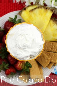 Easy and sweet non alcoholic pina colada dip is great for parties served with fruit and other goodies! Simple dip recipes kids love too.