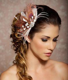 Pink Berry Fascinator Headpiece Bridal Head Piece by GildedShadows, $64.00