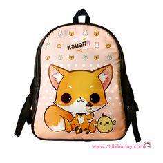 Cute kawaii fox - Leather backpack - LBP8   ChibiBunny - Bags & Purses on ArtFire