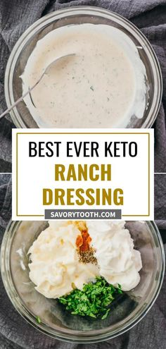 The best keto ranch dressing, whether you are low carb or not. No special ingredients, no buttermilk needed, no blender, no food processor. It is a healthy and easy recipe with sour cream and mayo to make a simple homemade dressing that you can use over salads, chicken, etc. Sour Cream Salad Dressing, Keto Ranch Dressing Recipe, Low Carb Ranch Dressing, Low Carb Salad Dressing, Salad Dressing Recipes, Homemade Dressing, Healthy Homemade Ranch, Food Processor Recipes, Lost Weight