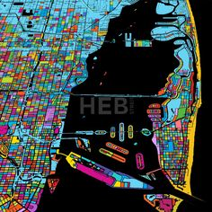 Miami and Miami Beach Colorful Vector Map on Black by Hebstreits #stockimage #design #map #colorful #vector
