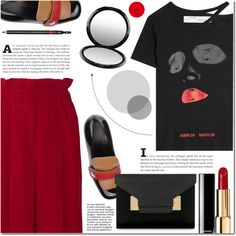 Statement T-Shirts by a-a-nica on Polyvore featuring Off-White, Sonia Rykiel, Marni, Sophie Hulme, Gucci and MAC Cosmetics