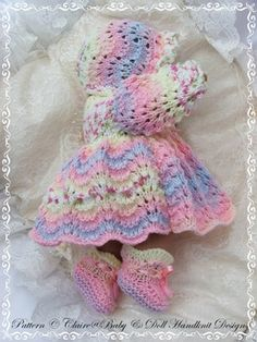 Traditional Matinee Set for 14 inch 'Lots to Love' Berenguer Doll-knitting pattern, lots to love, bathtime babies, berenguer Baby Doll Clothes, Doll Clothes Patterns, Pet Clothes, Doll Patterns, Baby Dolls, Baby Sweater Patterns, Baby Knitting Patterns, Hand Knitting, Baby Pullover Muster