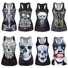 Women's Vest Print Blouse Gothic Punk Party Clubwear Sleeveless T-Shirt Free Shipping