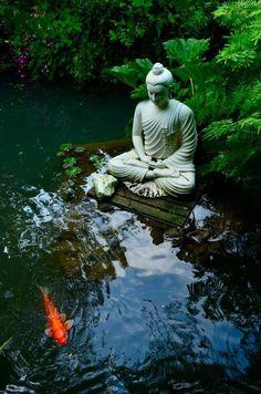 Zen Garden Setting… Buddha and Koi Pond Parks, Zen Garden Design, Garden Art, Landscape Design, Meditation Garden, Design Jardin, Koi Carp, Koi Fish Pond, Dream Garden