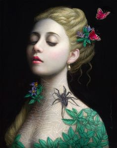 Visuals silences in the imagery of female artist Chie Yoshii are being exhibited until November at the contemporary pop art Gallery Corey Helford in Los Angeles California. Art Visionnaire, Art Moderne, Visionary Art, Art Plastique, Surreal Art, Dark Art, Art Images, Amazing Art, Fantasy Art