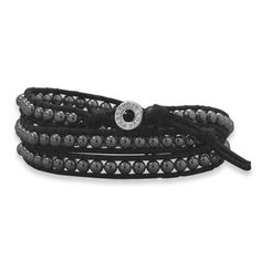 "21"" + 1"" extension black cord and 4mm hematite bead wrap around bracelet. The toggle style sterling silver clasp is inscribed with ""Forever Love"". For a personalized look, add charms to this bracelet. Hail Mary Gifts, http://www.amazon.com/dp/B009KR44LA/ref=cm_sw_r_pi_dp_vlqKqb1RA36G4"