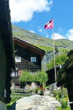 Brown wooden house near green trees under blue sky Zermatt, Wallis, Grindelwald, Swiss Alps, Travel Destinations, Cabin, Zurich, Mountains, House Styles
