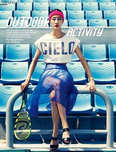 Left page: Top is Vov, Shisuru skirts and pants are Low Classic, Shoes are Aldo, Headband American Apparel, Speedminton racket is Speedminton GmbH by Qworld. Harper's BAZAAR Korea May 2014 – sporty-style. American Apparel, Sport Editorial, Editorial Fashion, Fashion Shoot, Look Fashion, Fashion Trends, Woman Fashion, Fashion Ideas, Winter Fashion