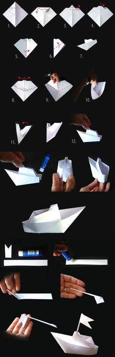 pliage papier bateau