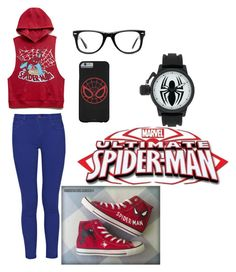 """""""Spiderman"""" by torifoster47 ❤ liked on Polyvore featuring Forever 21, French Connection, Converse and Muse"""