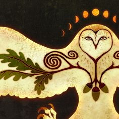 Owl Talisman of Protection - Barn Owl Oak Acorn Celtic Spiral Moon Phase by AntlerThorn on Etsy https://www.etsy.com/listing/91227969/owl-talisman-of-protection-barn-owl-oak
