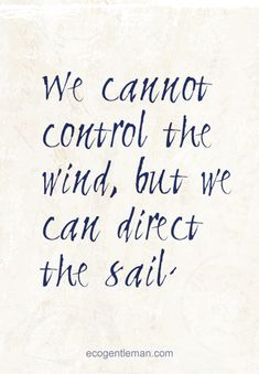 ☼ Positive quotes ♂ We cannot control the wind, but we can direct the sail.